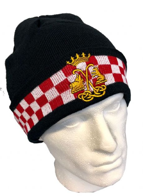 The Argyll and Sutherland Highlanders woolen beanie hat with embroidered cap badge.